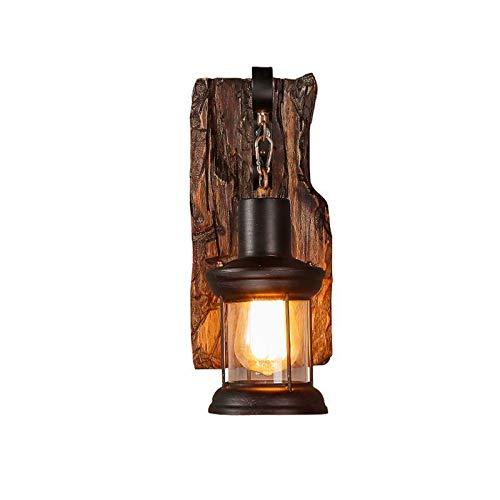 Vintage Holz Wandleuchte,COCOL Vintage Metall Glas Wandleuchte E27-Fassung Wandbeleuchtung Rustikal Holz und Wandleuchte Antik Wohnzimmer Wandlampe Vintage Industrielle Style (Color : B)