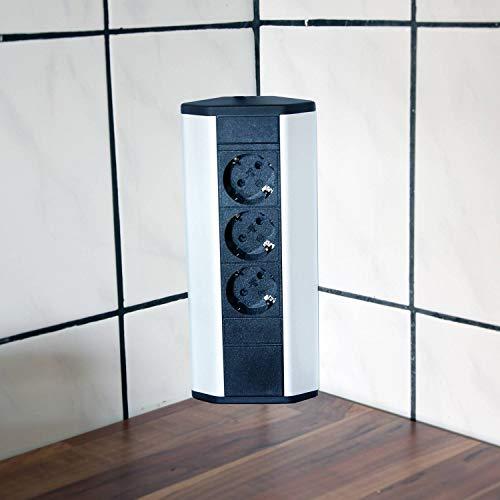 Steckdose für Küche und Büro – Ecksteckdose aus Aluminium und hochwertigem Kunststoff ideal für Arbeitsplatte, Tischsteckdose oder Unterbausteckdose mit 3-fach Steckdosenelement | 3er Steckdose