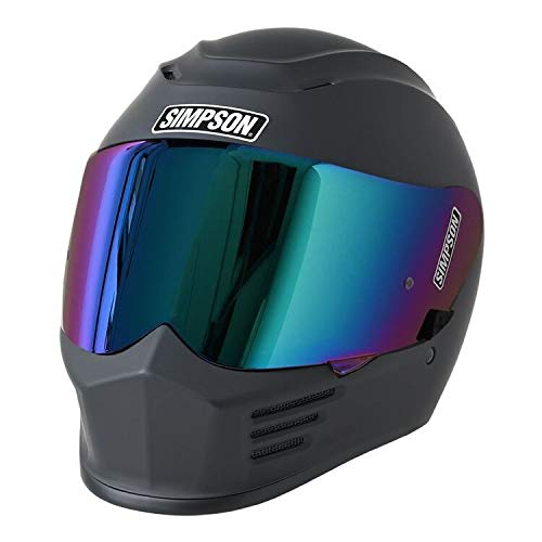 Simpson SPBM3 Speed Bandit Full Face Racing Helmet Size - Medium - Matte Black-Clear Shield Included- Mirror Shield Pictured is Sold Separately