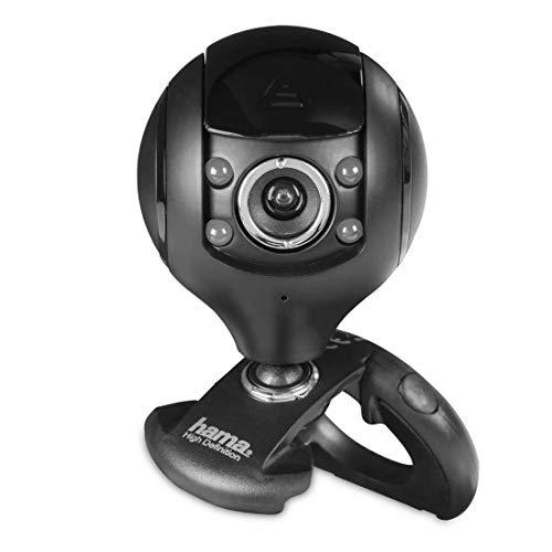 Hama HD Web-Cam mit Mikrofon (Streaming Kamera mit Abdeckung, Webkamera für Konferenzen und Meetings am PC, Laptop und Notebook) schwarz