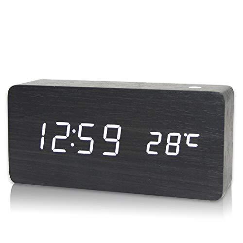 GSODC LED digitale wekker van hout nachtkastje Snooze wekker Wake Up Digitaal met 3 alarmen en klok spraakbesturing voor slaapkamer Office Kids Teens