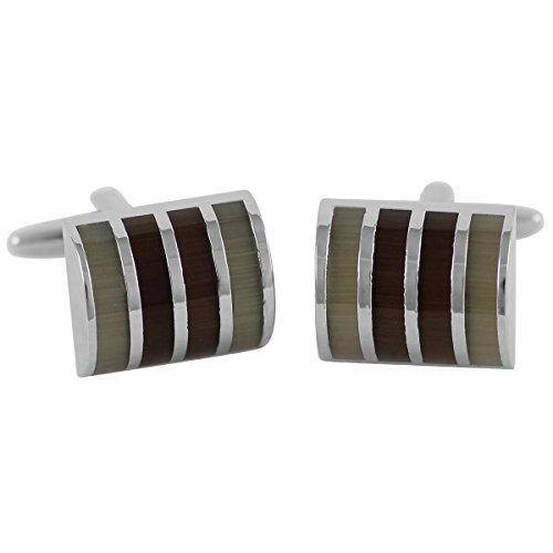 Lindenmann TARANTO Cufflinks/Cuff Buttons, Silvery, Cats-Eye Brown Green, with Gift Box, 3222