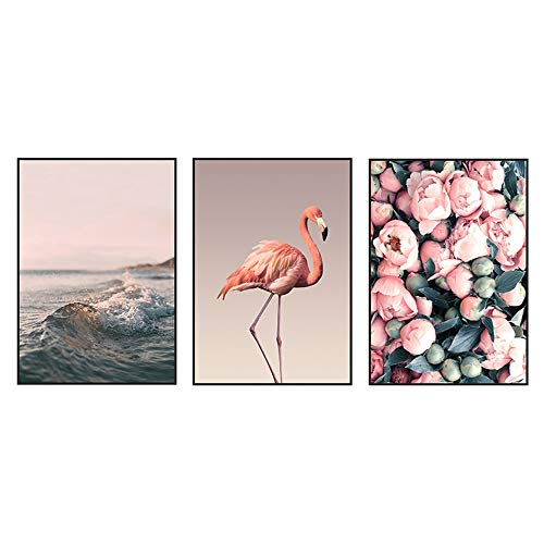 3Pcs Wall Art Decor Flamingo Rose and Wave with Printed Frame SelfAdhesive Wall Sticker for Home Office Living Room Bedroom 118x157inches Pink