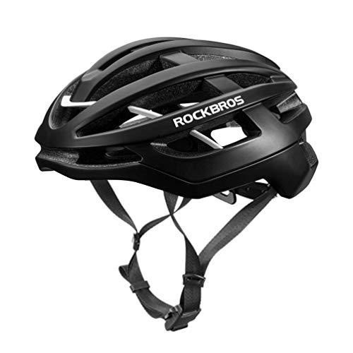 ROCKBROS Fahrradhelm Integrierter Fahrrad Helme Mountain Bike Rennrad Unisex Erwachsener für Herren Damen M (54-59cm)/L(58-63cm) (Schwarz, L)