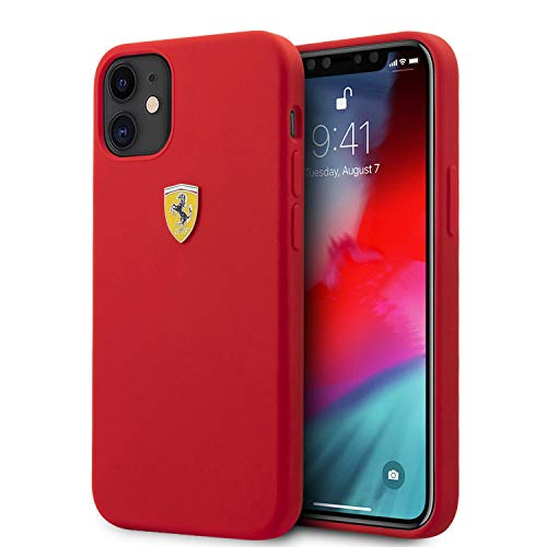 Ferrari Phone Case for iPhone 12 and iPhone 12 Pro Liquid Silicone Hard Case On Track Metal Logo