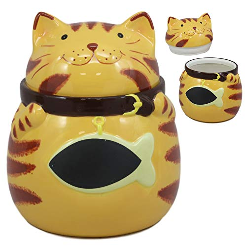Ebros Ceramic Feline Orange Tabby Fat Cat With Giant Fish Belly Cookie Jar 7.25'Tall Decorative Kitchen Accessory Figurine As Decor of Cats Kittens or Kitty