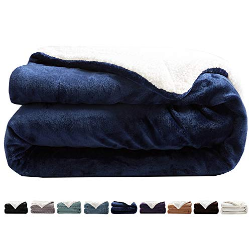 LIANLAM Sherpa Fleece Blanket King Size Dual Sided Blanket Super Soft and Warm Fuzzy Plush Cozy Luxury Big Bed Blankets Microfiber (Royal Blue, 104'x90')