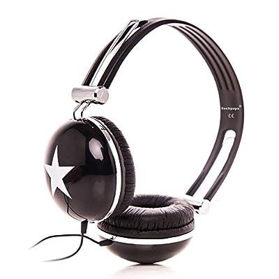 RockPapa Adjustable Stereo Star Kids Headphones Earphones, Over Ear, Headphone for Girls Boys Teens Childs Adults, Soft Earpad, Deep Bass for MP3 MP4 DVD Tablets Laptop TV Black by Rockpapa Inc