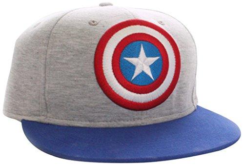 COTTON DIVISION Captain America-Logo Grey Casquette visières, Gris (Gris Mélange), Fabricant: Taille Unique Mixte