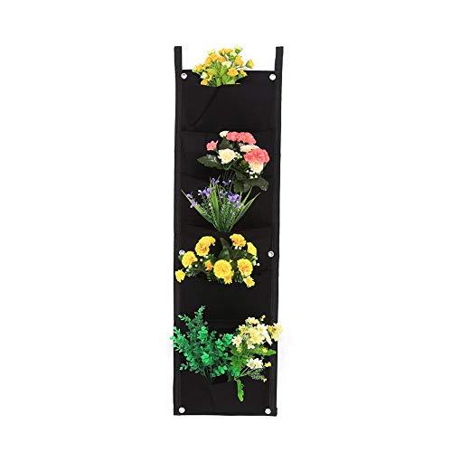 Jardinera vertical para plantas y semilleros con 7 12 16 18compartimentos, uso en interior y exterior, color negro 7-Pocket
