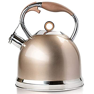 Tea Kettle Best 3 Quart induction Modern Stainless Steel Surgical Whistling Teapot - Pot For Stove Top,Champagne-gold