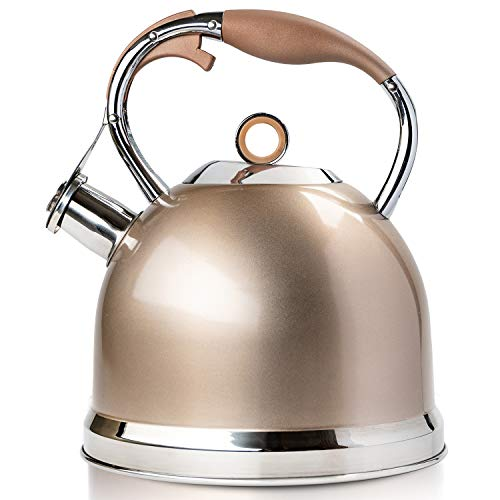 Tea Kettle Best 3 Quart induction Modern Stainless Steel Surgical Whistling Teapot  Pot For Stove Top Champagnegold