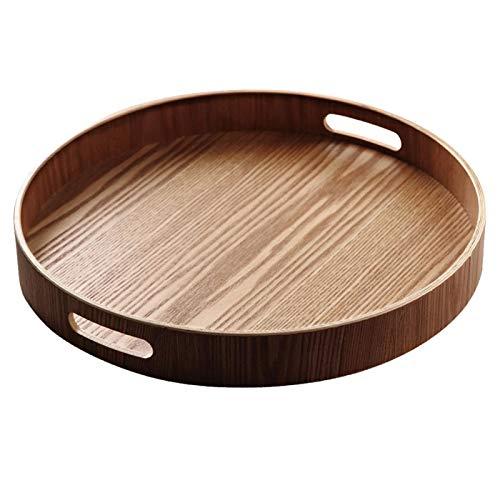 KOET Rundes Serviertablett aus Holz mit Griff, abwischbar und leicht zu reinigen, für Kaffee, Tee, Snacks, Lebensmittel, Heimdekoration