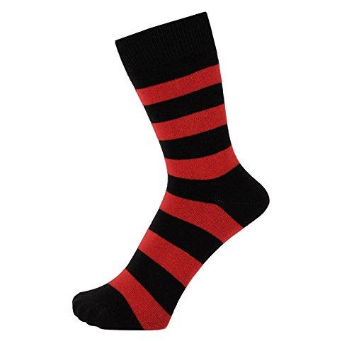 ZAKIRA Elegante Gestreifte Socken aus Feinster Gekämmter Baumwolle für Damen & Herren (Rot/Schwarz, 39-45)
