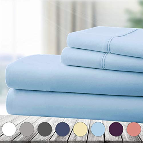 Abakan Queen Bed Sheet Set 4 Piece Super Soft Brushed Microfiber 1800 Thread Count Hotel Luxury Egyptian Sheet Breathable, Wrinkle, Fade Resistant Deep Pocket Bedding Sheet Set (Queen, Lake Blue)