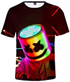 EMILYLE Niños Camiseta Sonrisa DJ 3D Impresión Chula Moda Tshirt Manga Corta XS,Iris