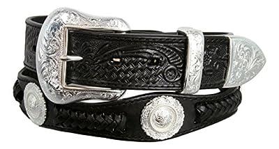 Cinquefoil- Mens Western Embossed Genuine Cowhide Leather Concho Scalloped Belt(Black,34)