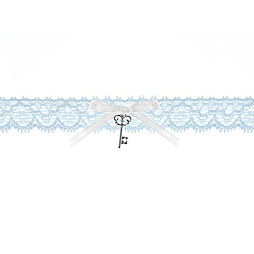 Braut-Strumpfband Spitzenstrumpfband blau mit weißer Satinband-Schleife und Schlüssel-Anhänger Hochzeit Strumpf Band. Von Haus der Herzen ®