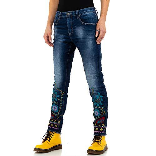 Ital-Design Damen Low Boyfriend Skinny Jeans Mozzaar Gr. L Blau
