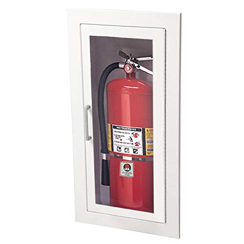 JL Industries Fire Extinguisher Cabinets White, Fully Recessed, Flat Trim, Full Acrylic W/ Lock 1815G10