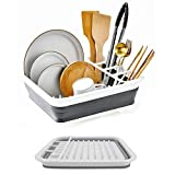 DLD Collapsible Dish Drainer with Drainer Board - Foldable Drying Rack Set - Portable Dinnerware Organizer - Space Saving Kitchen Storage Tray (Grey)