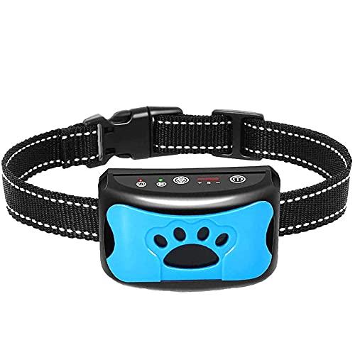 Antibell Halsband Hund USB Wiederaufladbares No Harm Erziehungshalsband Hund mit Vibration, Sound und No-Schock für Kleine Mittelgroße Hunde harmloses Haustier-Training-Blau