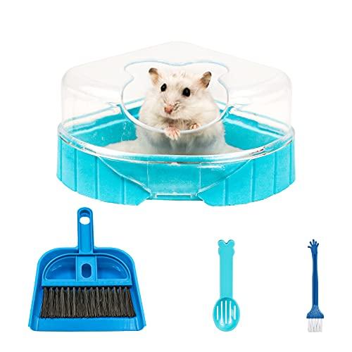 NC Sandbad Set für Hamster, Hamster Ecktoilette mit Dach Hamster Klo Hamster Badezimmer Badewanne inkl. Sandschaufel und Mini Besen Set für Hamster Rennmaus Mäuse (Blau)