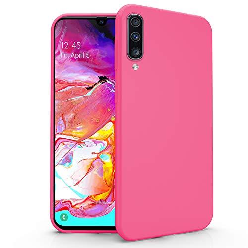 N NEWTOP Cover Compatibile per Samsung Galaxy A70, Custodia TPU Soft Gel Silicone Ultra Slim Sottile Flessibile Case Posteriore Protettiva (Fucsia)