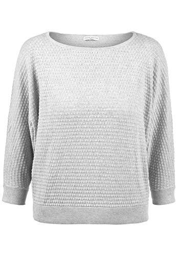 ONLY EULA Damen Strickpullover Feinstrick Pullover Mit Rundhals Und Perlstrick-Muster Aus 100{766a01a670df9039d37752dd28e62bfdcb58fbaf53062e021e208eafea1393b4} Baumwolle, Größe:L, Farbe:Light Grey Melange