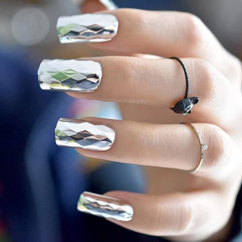 CSCH Faux ongles Miroir en métal 3D argent faux ongles losange métal punk style carré faux ongles acrylique ongles conseils bricolage salon art fête nuptiale