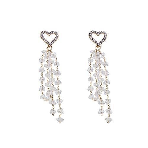Earrings 925 Rhinestone Love Crystal Tassel Earrings Earrings Ear Jewelry Party Banquet Holiday Girl Valentine's Day Gift