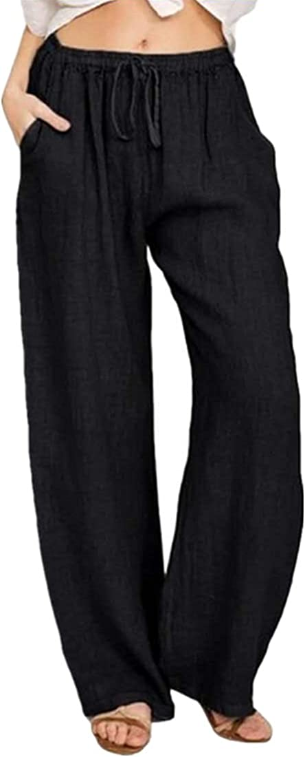 Yoawdats Casual Linen Palazzo Pants for Women,High Waisted Solid Color Drawstring Loose Pants with Pocket