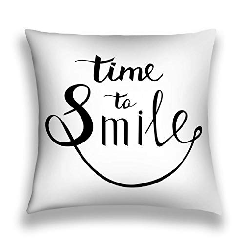 AOOEDM Pillow Covers Pillowcase Cushion Covers with Zipper 18x18 Inches time to Smile Inspirational Quote Happy Modern Cal