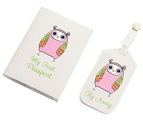 Lillian Rose Luggage Tag and Passport, Pink/Owl, 6.75' x 5.75'