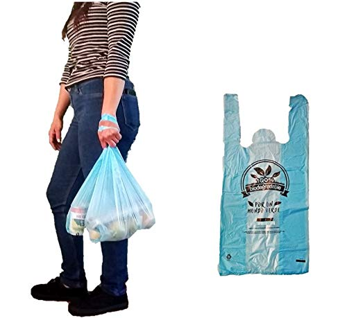 bolsas tipo camiseta oxobiodegradables resistentes multi proposito supermercado ecofriendly 100% biodegradable (70 pack azul, 40x52cm)