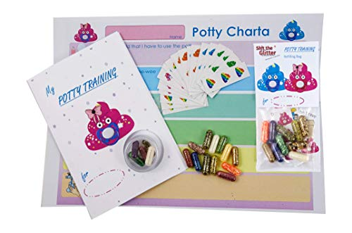 Shit The Glitter - Potty Training Set (Girl) / Child Motivation incl. Glitter/Motivational Trainer/Learning Program with Charta System and Sticker/How I Learn to use My Potty