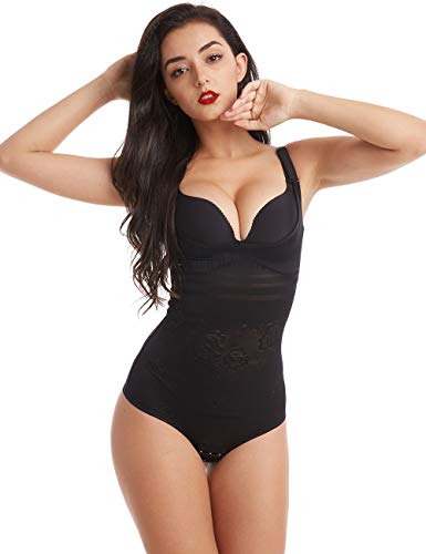 Wirezoll Damen Shapewear, Figurformender Body Bauch Weg Bodysuit mit Haken, Upgraded Version Schwarz, M