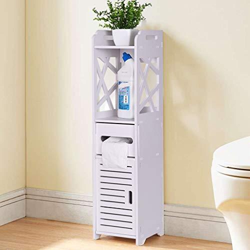Bathroom Storage Cabinet Corner Floor Cabinet, Multifunctional Bathroom Storage Organizer Rack Stand, Toilet Vanity Cabinet Bath Sink Organizer Toilet Tissue Storage Tower Shelf, 7.1 x 7.9 x 31.5 inc