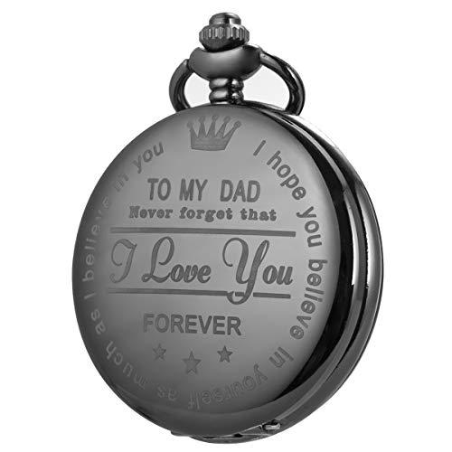 SIBOSUN Personalisierte Taschenuhr Gravierte Graviert Herren TO DAD für Papa Mit Kette SIBOSUN Uhr Quarz Geschenk