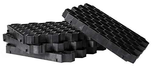 Gardenised QI003668G Set of 4 Permeable Grass and Gravel Pavers for Parking Lots, Driveways and RV Pads Extra Thick Tiles, Black