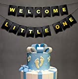 Boston Creative Company Welcome Little One Banner - Baby Shower Decor - General Reveal Party - Nursery Flag Bunting - Black and Gold Foiled Card Stock-USA Brand!! #Card_BAN_20