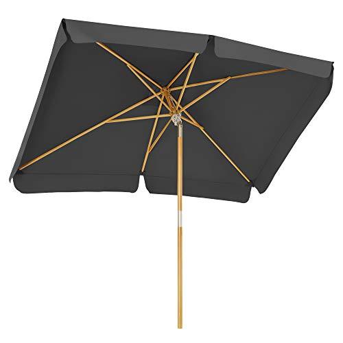 SONGMICS Sonnenschirm für den Balkon, 300 x 200 cm, rechteckiger Balkonschirm, Sonnenschutz bis UPF 50+, Schirmmast, Schirmrippen aus Holz, knickbar, ohne Ständer, Garten, Outdoor, grau GPU300G01