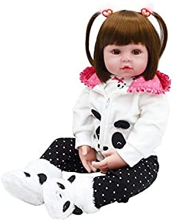 Tianara Reborn Baby Silicone Doll Gifts 24 inch Realistic Real Like Long Hair Girl White Pink Panda Outfit with Panda Shoes [並行輸入品]
