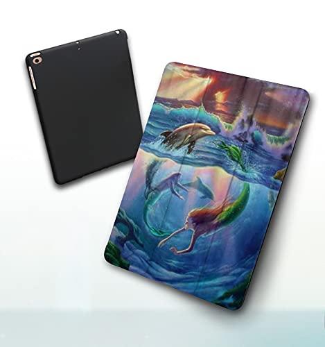 Funda para iPad 9,7 Pulgadas, 2018/2017 Modelo, 6ª / 5ª generación,Merpeople Mermaid Dolphin Ocean Smart Leather Stand Cover with Auto Wake/Sleep