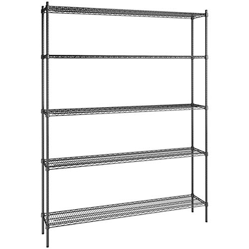 14 inch x 72 inch Certified Black Epoxy 5 Shelf Kit with 96 inch Posts. Storage Shelf. Garage Storage Shelves. Shelving Units and Storage. Food Storage Shelf. Storage Rack. Bakers Racks