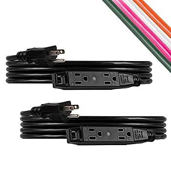 UltraPro Black 9 ft Extension Cord 2 Pack 3-Outlet Power Strip 16 Gauge SJTW Heavy Duty For Use in Home Garage or Workshop 50777