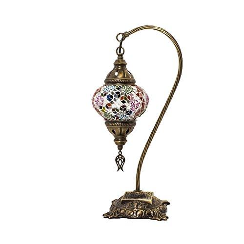 Mosaiklampe – Türkische Mosaik-Tisch- und Schreibtischlampe, atemberaubender marokkanischer Stil, einzigartiger Kugel-Lampenschirm, Schwanenhals-Serie (Andalusit)
