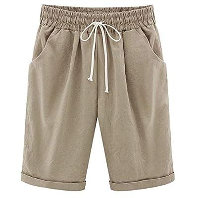XinYangNi Women's Summer Casual Cotton Fit Curled Cuffs Elastic Waist and Drawstring Hiking Shorts Khaki US XL/Asia 6XL
