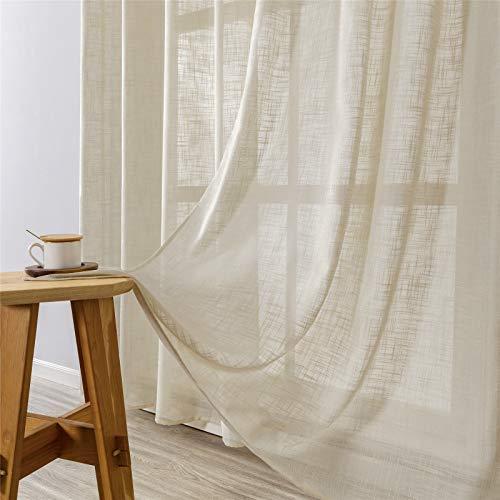 MRTREES Gardinen kurz 2er-Set LeinenVorhang im Modernen Stores Gardinen Schals Beige 175×140 (H×B) für Wohnzimmer Schlafzimmer Kinderzimmer