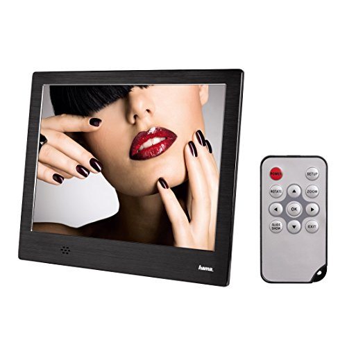 Hama Digitaler Bilderrahmen Slim Steel (20,32 cm (8 Zoll), SD/SDHC/MMC-Kartenslot, USB, 1024 x 768 px) mit Fernbedienung, schwarz